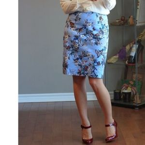 J. Crew Pencil Skirt in Botanical Bird Print
